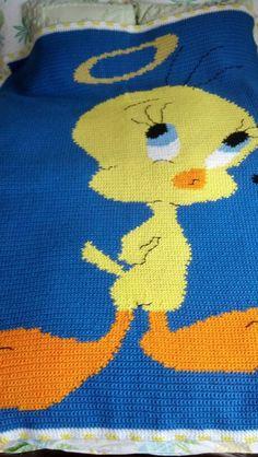 Crochet Tweety Bird Afghan Free US shipping by BCsCraftyCreations, $75.00
