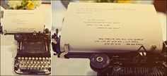 instead of signing a guestbook, type notes on a typewriter (at a wedding); photo by amelia lyon
