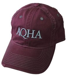1eb5fdcaa3d1d Maroon distressed cap with raised AQHA in grey on the front. DT612  Equestrian Outfits