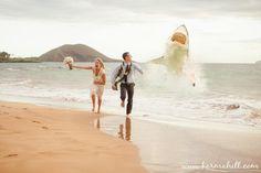 fun wedding portrait, shark attack wedding portrait, running bride and groom, wedding by Simple Maui Wedding