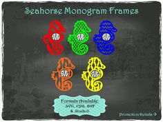 Sea Horse Frames 1 in .SVG .EPS .DXF & .Studio3 by TheSVGFontStore