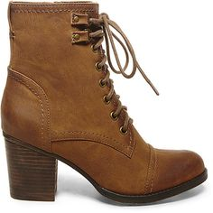 Madden Girl by Steve Madden Women's Westmont Booties ($80) ❤ liked on Polyvore featuring shoes, boots, ankle booties, ankle boots, black paris, cognac ankle boots, lace up boots, short boots and lace up ankle booties