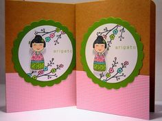 Arigato Thank You Card Set of 2 Kokeshi Doll by apaperaffaire, $5.75