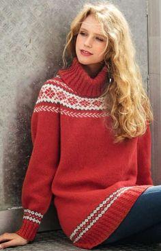 Denne nydelige, moderne versjonen av en islandsk genser kan du strikke i en kort eller lang modell. Her får du oppskriften!