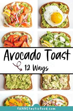 Get 12 delicious variations on the basic avocado toast recipe - perfect if you need some quick & easy breakfast ideas (and snack lunch etc. Fried egg avocado toast chocolate avocado toast tuna avocado toast and LOTS more! Best Avocado Toast Recipe, Avocado Recipes, Avocado Toast With Egg, Avocado Egg Breakfast, Avacado Snacks, Breakfast Toast, Breakfast Recipes, Breakfast Ideas, Brunch Ideas
