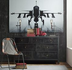 RH baby&child's Fighter Jet Wall Decal:Artfully captured in black and white, a dramatic photo of a fighter jet on the runway becomes all the more striking as an oversized peel-and-stick  wall decal.