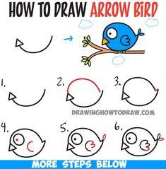Encantador How to Draw Cute Cartoon Bird Illustration from Arrow Shape - Easy Tutorial for Kids - How to. How to Draw Cute Cartoon Bird Illustrati. Art Drawings For Kids, Bird Drawings, Doodle Drawings, Drawing For Kids, Easy Drawings, Drawing Cartoon Characters, Cartoon Drawings, Cartoon Birds, Cute Cartoon