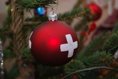 Christmas glass bauble from Verbier, Switzerland.