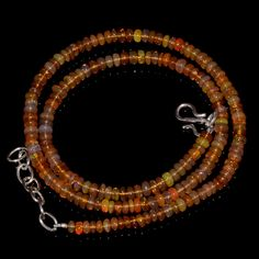 "44CRTS 3.5to4MM 18"" ETHIOPIAN OPAL RONDELLE BEAUTIFUL BEADS NECKLACE OBI2198 #OPALBEADSINDIA"