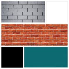 Exterior color scheme for red brick and gray roof - teal door, white siding, and black shutters