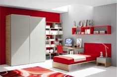Farbgestaltung fürs Jugendzimmer – 100 Deko- und Einrichtungsideen - rot farbschema kinderzimmer kleiderschrank jugendzimmer schiebetüren