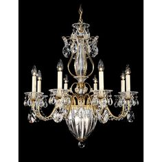 Bagatelle Heirloom Gold 11-Light Clear Heritage Handcut Crystal Chandelier, 26.5W x 29H x 26.5D