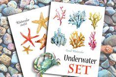 Watercolor underwater set by Watercolor Gallery on Creative Market