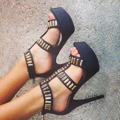 Gilded Perfection Platform Heels