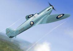 Supermarine Spitfire prototype K5054, Eastleight, England, 1936. Supermarine Spitfire, Aviation Art, Ww2, Painting & Drawing, Fighter Jets, Aircraft, Digital Art, Gallery, Artwork