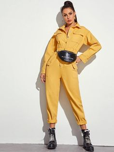 Solid Flap Pocket Denim Jumpsuit Without Belted Bag Denim Jumpsuit, Denim Overalls, Geek Fashion, Couture Fashion, Balloon Pants, Playsuit Romper, Teen Fashion Outfits, Jumpsuits For Women, Pretty Outfits
