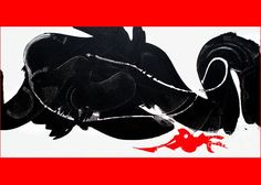 Minimalist Caligraphic Black And White Puncuated With Red And A Pink Dot .dramatic Exotic Greeting Card featuring the painting Dragon Sign by Expressionistart studio Priscilla Batzell