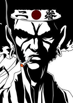 Smoking Afro.  Fanart from Afro Samurai. Based on the Anime Afro Samurai.