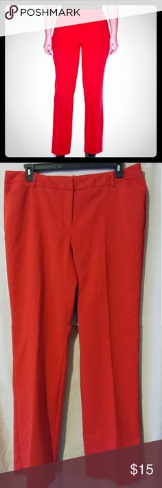Worthington Woman Modern Fit Career Pants Rich red straight leg slacks.  65% polyester/34% rayon/1% spandex.  Worn only once Worthington Pants Trousers