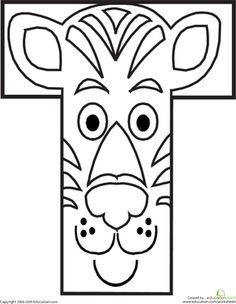 Preschool The Alphabet Animals Worksheets: Letter T Coloring Page