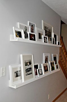 Ikea picture rail bookshelf wall art gallery layout art display photo ledge picture shelves home interior . Picture Rail, Picture Shelves, Photo Shelf, Shelves For Pictures, Ikea Photo Ledge, Display Pictures, Black Picture, Picture Frames, Diy Casa