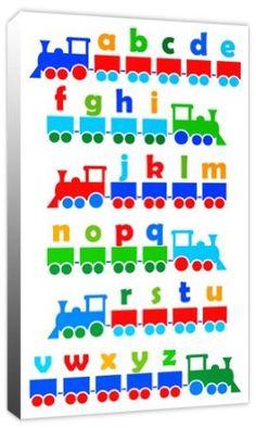 Boys Alphabet Train - Childrens ABC Canvas Art Print Picture