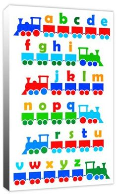 Boys Alphabet Train - Childrens ABC Canvas Art Print Picture