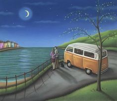 Paul Horton artist, Off Limited Edition Prints & Sculptures Paul Horton, Somewhere Only We Know, Building Painting, Good Night Moon, Folk, Naive Art, Beach Art, Simple Art, Beautiful Paintings