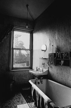 Colliery viewed through bathroom window Burnley 1969, Manchester