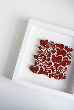 36 Love Hearts ceramic tile white and red wall hanging by karoArt, €76.00