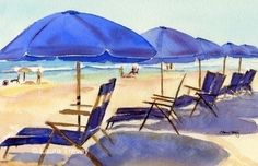 Beach Chairs Watercolor Print