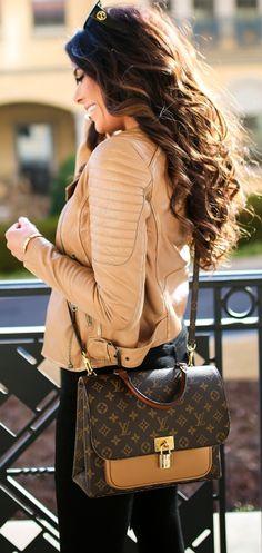"FAUX LEATHER JACKET: Treasure & Bond | BLACK TEE: BP | DENIM: Citizens of Humanity | BLACK HEELS: Sam Edelman | BROWN BELT: Gucci | SUNGLASSES: Gucci | HANDBAG: Louis Vuitton ""Messenger"" | LIPS: ""Kim KW"" | SCARF: H&M | EARRINGS: Free People. Emily Gemma, The Sweetest Thing Blog, Womens Fashion. Fashion Outfit, Fall fashion, winter trends, winter fashion. #emilyanngemma #thesweetestthingblog #fashionoutfit #fashionstyle."