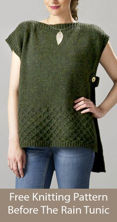 Free Knitting Pattern for Before The Rain Tunic Vest Poncho - Poncho vest with open sides closed with tabs and with a diamond lattice texture section. Sizes XS - XL. Designed by Inese Sang. Worsted weight yarn. Knit Cardigan Pattern, Poncho Knitting Patterns, Tunic Pattern, Knitted Poncho, Knit Patterns, Easy Knitting Projects, Knitting Supplies, Knitting Ideas, Free Knitting