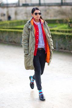 Colourful, layered outfit, oversized utility jacket, colourful socks. Paris Fashion Week, Street style.