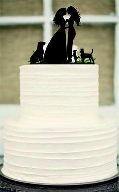 Lesbian Cake Topper, Same Sex Cake Topper,Mrs and Mrs Wedding Cake Topper, dog cake topper,Rustic Wedding Cake, Unique wedding cake topper by Customorderhouse on Etsy
