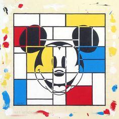 """Mondrian Mickey"" By Tennessee Loveless - Original Acrylic on Canvas, 14x14."