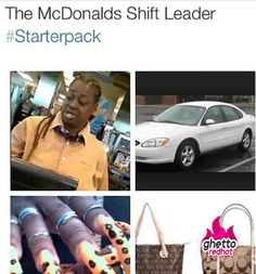 The ANY fast food shift leader starter pack Funny Facts, Funny Memes, Hilarious, Funny Starter Packs, Ghetto Red Hot, Cuba, Ghetto Humor, Funny Pins, Funny Stuff