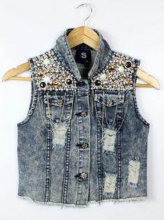 Para mujer Turn Down Collar Frayed Cardigans personalizados Denim Gilet bolas lentejuelas Paillette Punk cadena Jeans cortos chaleco chaqueta Top en Chalecos de Moda y Complementos Mujer en AliExpress.com | Alibaba Group