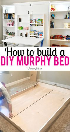 This tutorial for how to build a full size DIY murphy bed shows what supplies you'll need, how to get the best plans for your space, and even talks about additional ideas for built in storage (some from Ikea). Get a cost breakdown of how to build a Create Full Size Murphy Bed, Build A Murphy Bed, Murphy Bed Desk, Murphy Bed Plans, Murphy Bed Office, Best Murphy Bed, Murphy-bett Ikea, Bed Ikea, Ideas Habitaciones