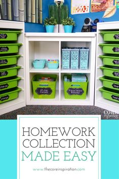 I love this approach to homework collection for the elementary classroom. These homework drop boxes save time, keep papers organized, and make it easy for me to see who hasn��t turned in homework. My students independently submit their homework each mornin