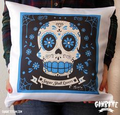 Sugar Skull Pillow Unique  Blue  Calaca Day of the by Ganbatte