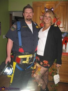 Rescued Cat & Firefighter - Couple Halloween Costume Idea