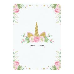 Customizable Invitation made by Zazzle Invitations. Unicorn Birthday Invitations, Pink Invitations, Unicorn Birthday Parties, Unicorn Party, Pink Gold Party, Pink Gold Birthday, Pink And Gold, Unicornio Birthday, Unicorn Baby Shower