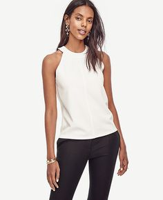 Image of Crepe Halter Shell color Winter White