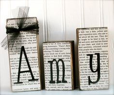 Custom Name Blocks with Book Paper by doubledutydecor on Etsy