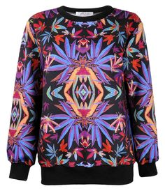 ZLYC Women Colorful Symmetrical Maple Leaf Print Sweatshirt Weed Sweater Pullover Purple