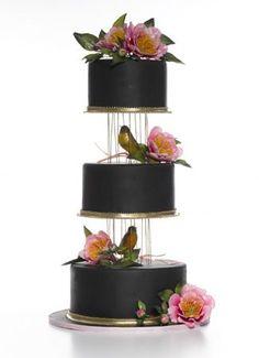 Elizabeth Hodes Cakes - fondant chocolate brown pink green yellow birds