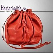 Vintage Carlos Falchi Luxurious Red Leather Satchel Slouch Handbag www.rubylane.com Ruby Lane
