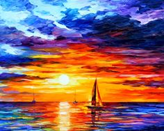 General 1280x1024 Leonid Afremov painting colorful boat sea sunset artwork sky sunlight