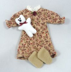 Toy Doll Outfit: Nightgown Teddy Bear Slippers by JoellesDolls